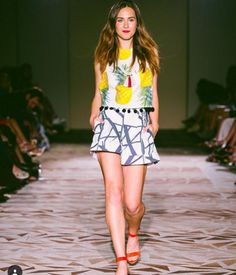 Pineapple Crop Top + Geometric Lines Shorts by Katie Kime