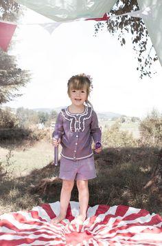 Cute children`s wear. Vintage circus. Kids editorial. Nordic style. MeMini kids fashion. baby girl, violet, knit, fun