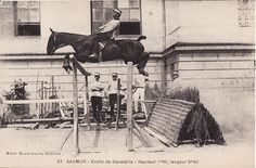 Hard to imagine a horse being able to clear a fence of this size with its rider sitting so far back. That was the style in the early 1900s.