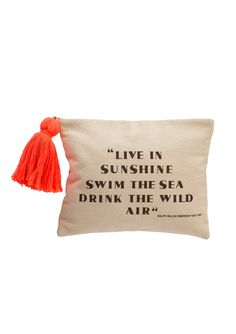 """<p>Canvas zip-travel pouch printed with Stephanie's favorite Ralph Waldo Emerson quotation: """"Live in sunshine, drink the sea, drink the wild air."""" Perfect for your electronics at the beach…or your everyday beauty essentials!</p> <li>Width 10 1/2""""</li><li>Height 8""""</li><li>Made in India</li> <li>100% Cotton Canvas</li>"""
