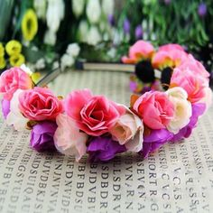 Rose Flower Crown Headbands for Wedding Festival Double Row Floral Garland Hairbands
