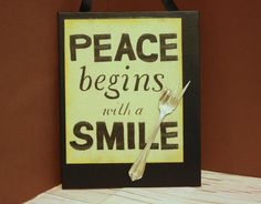 Upcycled Peace Sign...SmIlE...Upcycled fork art...vintage silverware usage...Unique office gift..Zen wall hanging (15.00 USD) by SilverBellesCrafts