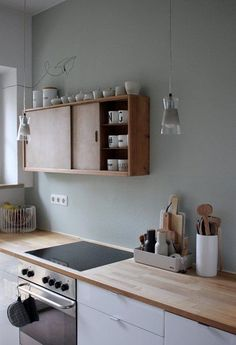 Kitchen with natural wood counters and upper cabinets. White lower cabinets and Minimalist Kitchen Cabinets counters Kitchen natural Upper white Wood Kitchen Furniture, Kitchen Interior, New Kitchen, Kitchen Decor, Kitchen Wood, Kitchen White, Kitchen Ideas, Kitchen Things, Minimal Kitchen