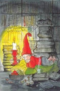 Postcrossing postcard from Finland I Love Books, Books To Read, Elves And Fairies, Little Library, Reading Art, Book Images, Christmas Art, Swedish Christmas, Christmas Greetings
