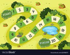 Simple green nature board game template vector image on VectorStock Nursery Rhymes Lyrics, Board Game Template, Sticker Chart, Teen Numbers, Card Games For Kids, Board Game Design, Printable Scrapbook Paper, Magazines For Kids, Kids Board
