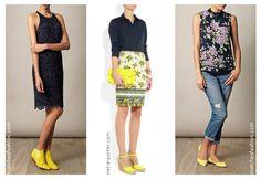 Consejos para combinar zapatos amarillos con azul