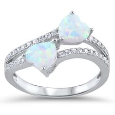 Heart Promise Ring Solid 925 Sterling Silver Double Heart Lab White Opal Round Clear White CZ Split Shank Dazzling Wedding Engagement Ring