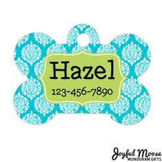 New to JoyfulMoose on Etsy: Personalized Dog Name Tag - Dog ID Tag - Aqua Lime Custom Dog Collar Tag - Dog Tag Damask Pattern (9.75 USD)