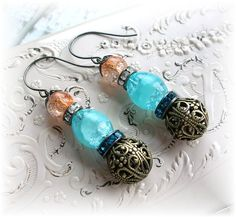 3 Tier Beaded Crackle Glass Filigree Earrings Brass Peach Coral Aqua Rhinestones