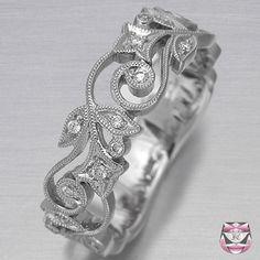 Diamond Wedding Band Art Nouveau
