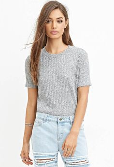 FOREVER 21 Ribbed Knit Tee