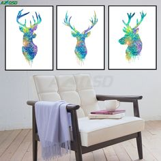 AZQSD Art Print Poster Triptych Watercolor Deer Head Animals Wall Pictures Living Room Canvas Painting No Frame Home Decor PP042