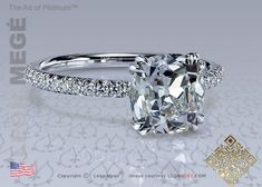 2.01 carat True Antique™ Cushion in a micro pave setting engagement ring by Leon Megé