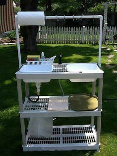 Collapsible Camp Washing Station from a plastic shelf. I have a couple of these outside my garage. Looks like it is time to create something out of them. :-)