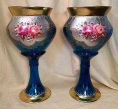 Pair of Moser Bohemian Enamel & Gilded Cobalt Glass Mantelpiece Pedestal Vases