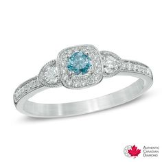 0.50 CT. T.W. Certified Canadian Diamond Vintage-Style Three Stone Ring in 14K White Gold (I2)