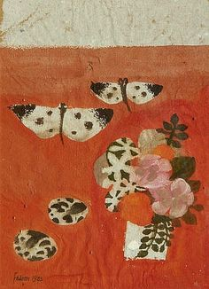 Mary Fedden  Butterflies and Flowers  1983
