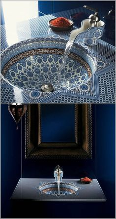 Love this incredible mosaic Moroccan style bathroom sink