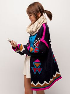 chunky patterned knit long cardigan