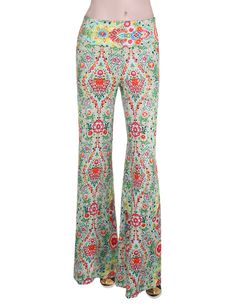 $8.49 XQS Womens Vintage Floral Printed Wide Long Leg Palazzo Pants at Amazon Women's Clothing store: