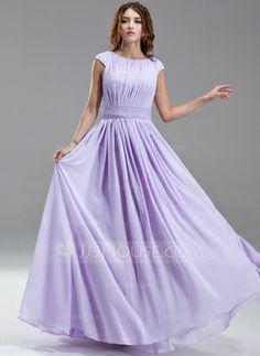 A-linjeformat Rund-urringning Golv-längd Chiffong Kate Middleton