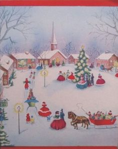 Vintage Christmas Cards, Retro Christmas, Christmas Wrapping, Vintage Holiday, Vintage Cards, Christmas Town, Christmas Scenes, Old Country Churches, Santa Clause
