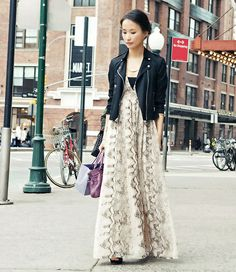 maxi dress animal and leather jacket