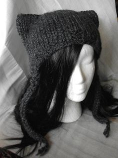 Charcoal Gray Kitty Ear Earflap Hat- Chunky Knitted WOOL Blend- Kawaii, Cosplay, Goth. $37.50, via Etsy.