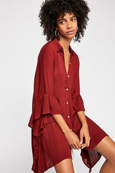 Love Is Top - Red Long Button Up Collared Shirt Dress with Ruffled Sleeve Details Collared Shirt Dress, Short Summer Dresses, Advanced Style, Sheer Fabrics, Ruffle Trim, Wrap Dress, Autumn Fashion, Free People, Cute Outfits