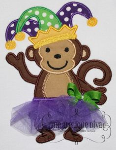 Mardi Gras Tutu Monkey Digital Embroidery by theappliquediva