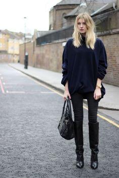 fall 2015 knee high boots jeans boyfriend sweater