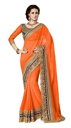 Buy Avsar PrintsOrange Embroidered Self Design Georgette Saree With Blouse Piece Online India - 3637529