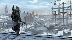 Connor stands atop a roof in Assassin's Creed III's Boston.