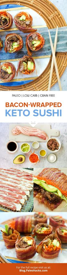 You'll love the crispy bacon shell, bursting with umami shredded beef, fresh and crisp cucumbers, and carrots and creamy avocado. Paleo Keto Recipes, Sushi Recipes, Ketogenic Recipes, Seafood Recipes, Low Carb Recipes, Dinner Recipes, Bacon Recipes, Paleo Dinner, Delicious Recipes