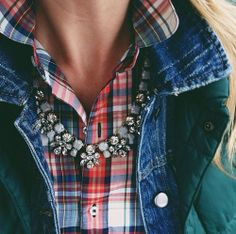 dressing up plaid + denim w/ a #statement necklace
