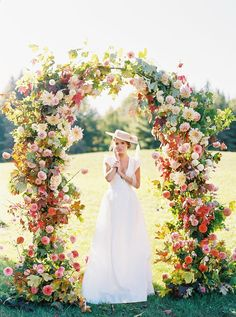 """This Stunning """"En Plein Air"""" French Countryside Elopement Is for the Romantics Wedding Ceremony Decorations, Ceremony Backdrop, Wedding Decor, Wedding Ideas, Floral Wedding, Wedding Flowers, Wedding Bride, Fall Wedding, Wedding Arbors"""
