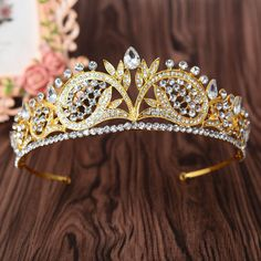 Elegant Top quality Women crowns Bridal wedding party show hair tiaras gold crystal hairwear hair accessories