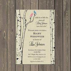 Bird Baby Shower Invitation Birch Tree Baby by PartyPopInvites