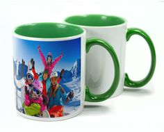 With a high gloss finish, ceramic mugs are a great way of personalising with an image or logo. Two Tone Mugs are available in different interior colours - red, blue, green, yellow & pink.