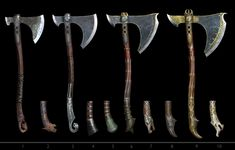 View an image titled 'Leviathan Axe Handles Art' in our God of War art gallery featuring official character designs, concept art, and promo pictures. Fantasy Armor, Fantasy Weapons, Medieval Fantasy, Kratos God Of War, Kratos Axe, Cosplay Weapons, Weapon Concept Art, Norse Mythology, Art Gallery