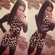 Dmart7deal Elegant Fashion Dress Women European Style Slim Bodycon leopard dresses dresses women sexy Long-Sleeved Casual Dresse plus size