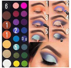 Eye Makeup Steps, Makeup Eye Looks, Eye Makeup Art, Blue Eye Makeup, Skin Makeup, Makeup Tips, Makeup Ideas, Makeup Products, Gold Makeup