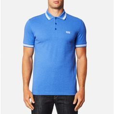 BOSS Green Men's Paddy Polo Shirt - Victoria Blue (325 BRL) ❤ liked on Polyvore featuring men's fashion, men's clothing, men's shirts, men's polos, blue, mens blue shirt, mens polo shirts and mens blue polo shirts