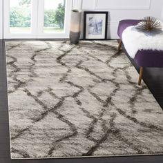 Safavieh Retro Modern Abstract Light Grey/ Black Rug x Size x Dark Blue Rug, Retro Lighting, Mid Century Modern Decor, Diy Carpet, Hall Carpet, Beige Carpet, Contemporary Area Rugs, Contemporary Style, Rug Material