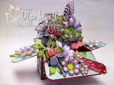 Heartfelt Creations - Fuchsia Card In A Box Project Pop Up Box Cards, 3d Cards, Card Boxes, Gift Boxes, Paper Boxes, Scrapbook Cards, Scrapbooking, Box Cards Tutorial, Exploding Box Card