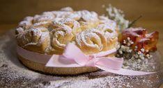 Rosenkuchen aus Briocheteig von Bianca-das große Backen Foto: Claudia Plattner Food And Drink, Diet, Cake, Desserts, Vintage, Cake Shop, Birthday Cake Toppers, Tailgate Desserts, Postres