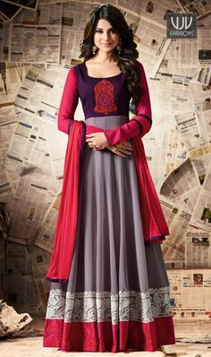 Jennifer Winget Grey Color Silk Anarkali Designer Suit  Make an adorable statement in this Jennifer Winget grey color georgette and silk designer anarkali salwar suit. This beautiful attire is showing some amazing embroidery done with resham, patch border and embroidered work.