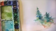 how to paint lively pine trees watercolor - YouTube