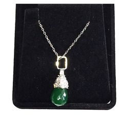 "XLNT Jade Glass Crystal Drop Pendant on 925 Chain Nice Rhodium-plated jade glass tear drop necklace on 925 chain - Just another simply classic drop style teardrop pendant - Teardrop jade faceted glass with rhodium-plated pave crystal adornment at the top - Hangs from a 925 sterling silver chain - Approximately 16"" long - Excellent condition - Jewelry"