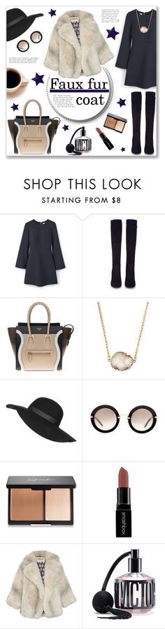 """""""Faux fur cropped coat"""" by bogira ❤ liked on Polyvore featuring MANGO, Gianvito Rossi, CÉLINE, Jules Smith, Topshop, Miu Miu, Smashbox, A.W.A.K.E., Victoria's Secret and fashiontrend"""
